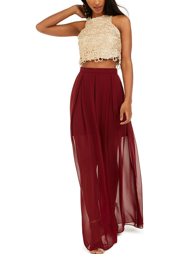Two Piece Color Block Party Wear Prom Dress Jewel Neck Sleeveless Floor Length Chiffon with Pleats Appliques 2020
