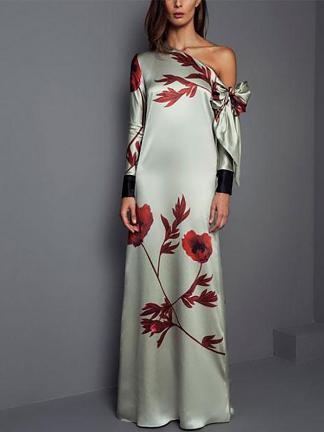 Sheath / Column Elegant Green Wedding Guest Formal Evening Dress One Shoulder Long Sleeve Floor Length Spandex with Pattern / Print 2020