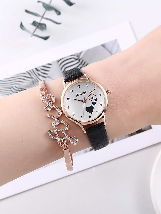 Women's Quartz Watches Quartz Heart Heart shape Cute PU Leather Black Analog - Black One Year Battery Life