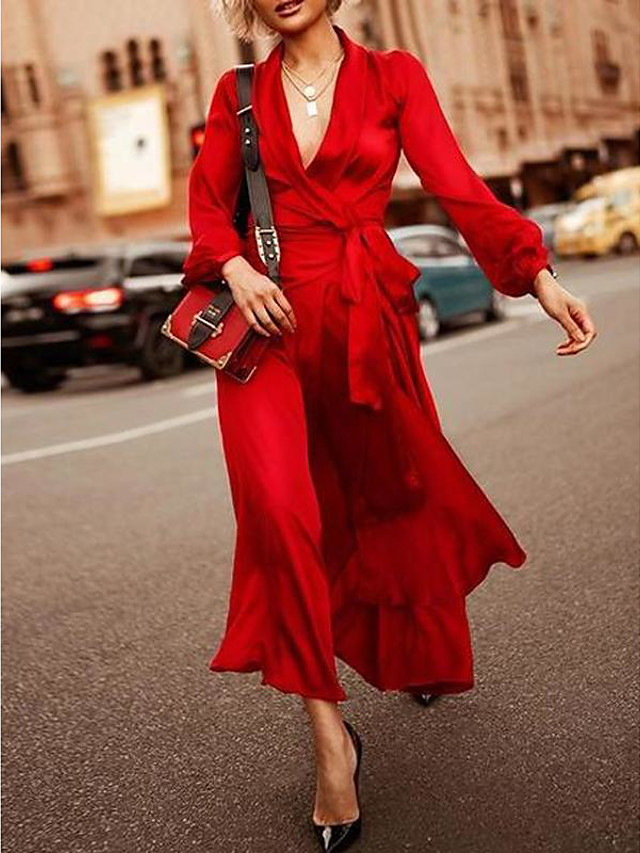 Sheath / Column Elegant Maxi Holiday Formal Evening Dress V Neck Long Sleeve Ankle Length Spandex with Sash / Ribbon 2020