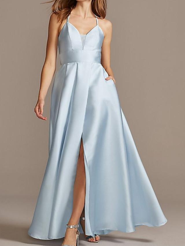 A-Line Elegant Beautiful Back Engagement Formal Evening Dress Spaghetti Strap Sleeveless Floor Length Satin with Pleats Split 2020
