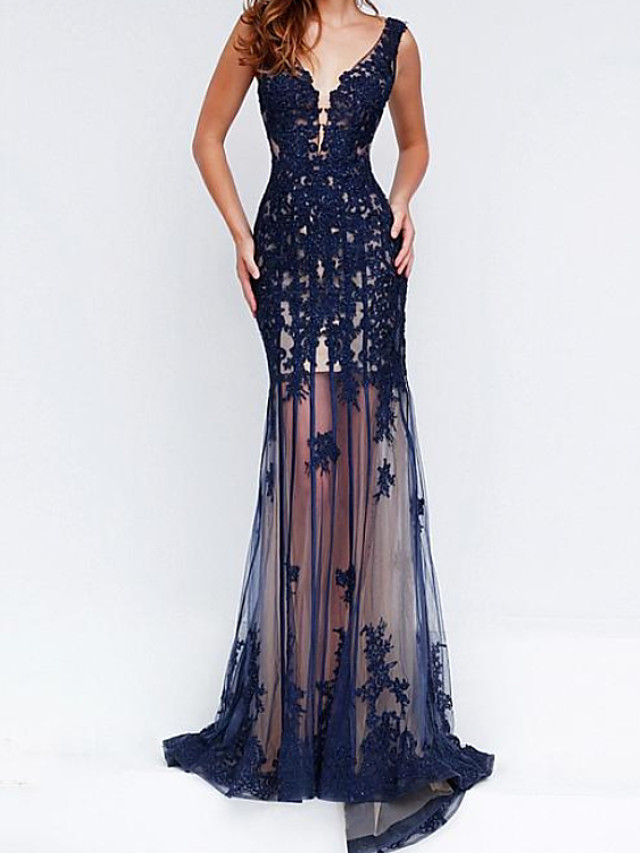 Sheath / Column Beautiful Back Floral Engagement Formal Evening Dress V Neck Sleeveless Floor Length Chiffon with Appliques 2020