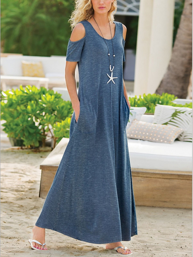 Women's Shift Dress Maxi long Dress - Short Sleeve Solid Color Summer Casual 2020 Black Blue Purple Gray S M L XL XXL XXXL