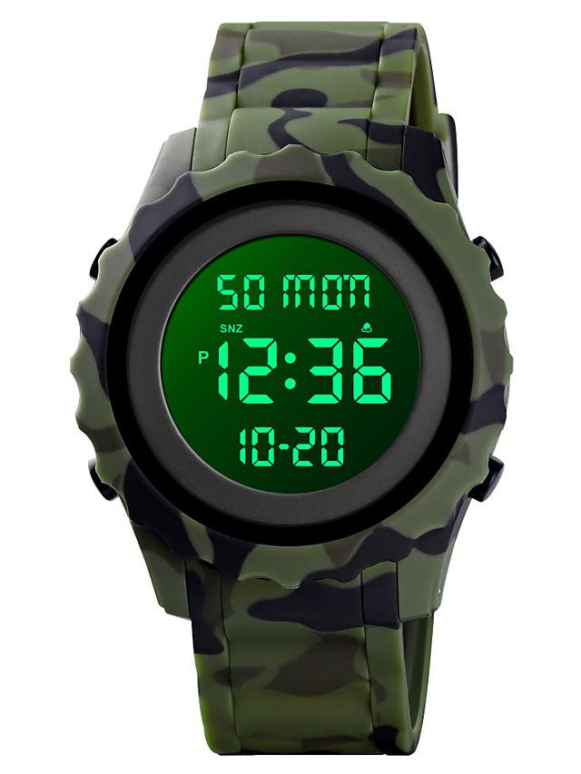 SKMEI Men's Digital Watch Digital Modern Style Sporty Camouflage Military Silicone Black / Blue / Green Digital - Black Blue Green One Year Battery Life / Calendar / date / day / Chronograph