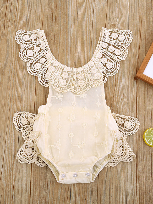 Baby Girls' Basic Solid Colored Lace Sleeveless Bodysuit Beige
