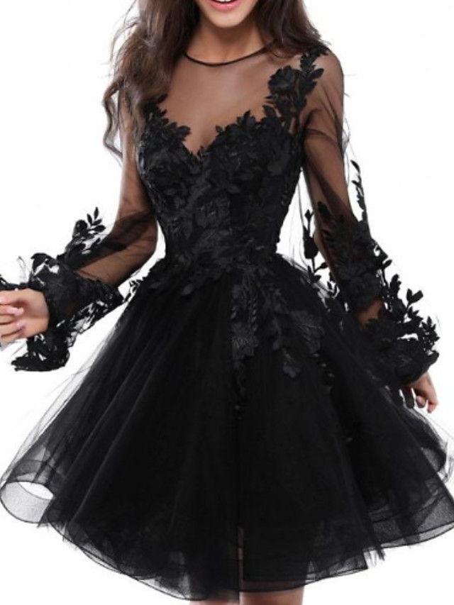 Back To School A-Line Floral Black Homecoming Cocktail Party Dress Illusion Neck Jewel Neck Long Sleeve Short / Mini Lace Tulle with Appliques 2020 Hoco Dress
