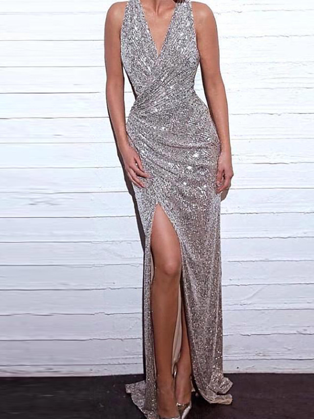 Mermaid / Trumpet Sexy Sparkle Party Wear Formal Evening Dress V Neck Sleeveless Sweep / Brush Train Sequined with Sequin Split 2020