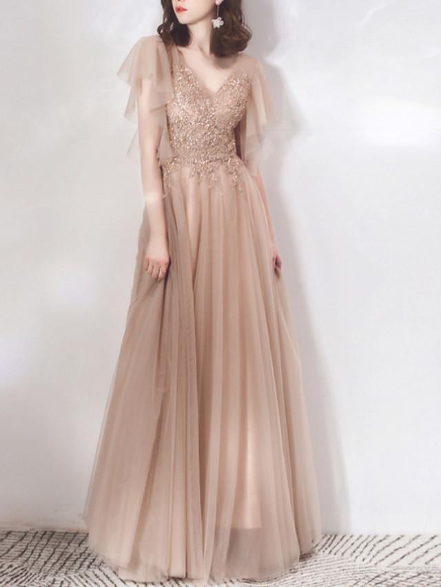 A-Line Elegant Glittering Prom Formal Evening Dress V Neck Short Sleeve Floor Length Chiffon with Sequin 2020