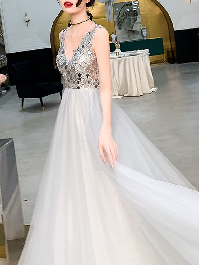 A-Line Luxurious Engagement Formal Evening Dress V Neck Sleeveless Sweep / Brush Train Tulle with Sequin 2020