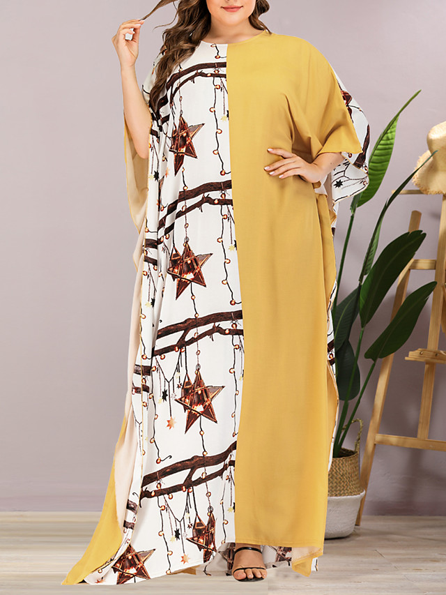 Women's Plus Size Maxi Shift Dress - Half Sleeve Geometric Summer Casual Elegant Daily Going out Batwing Sleeve Loose 2020 Yellow One-Size