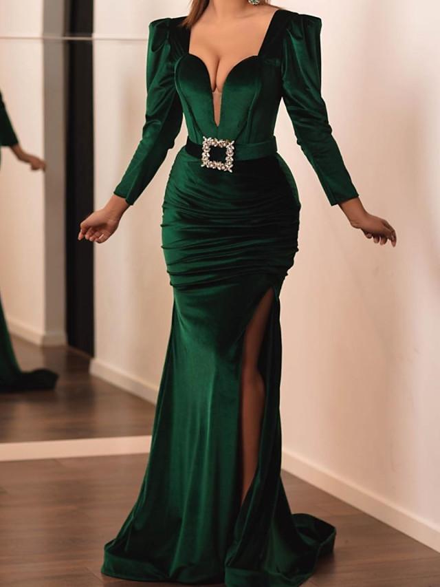 Mermaid / Trumpet Elegant Wedding Guest Formal Evening Dress V Neck Long Sleeve Sweep / Brush Train Velvet with Sash / Ribbon Ruched Split 2020