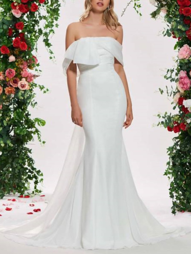 Mermaid / Trumpet Wedding Dresses Off Shoulder Sweep / Brush Train Organza Satin Sleeveless Sexy Backless with Sashes / Ribbons Ruched 2020