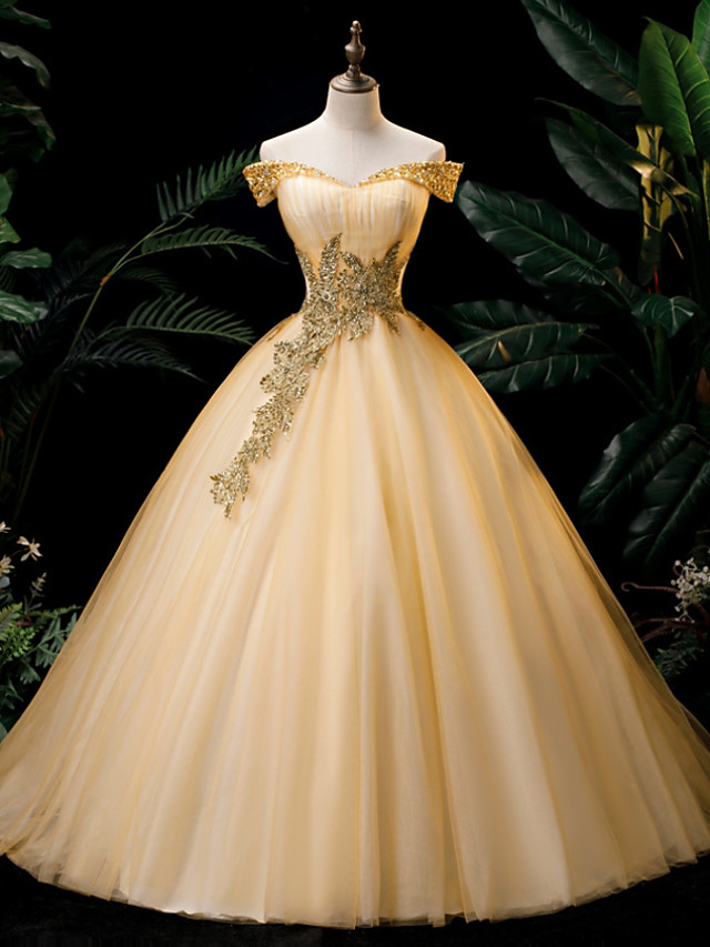 Ball Gown Glittering Engagement Formal Evening Dress Off Shoulder Sleeveless Floor Length Organza with Crystals 2020
