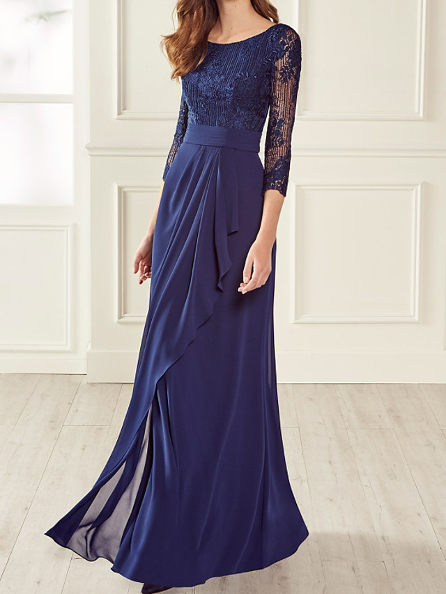 Sheath / Column Beautiful Back Floral Engagement Formal Evening Dress Jewel Neck 3/4 Length Sleeve Floor Length Chiffon Lace with Pleats Embroidery 2020 / Illusion Sleeve