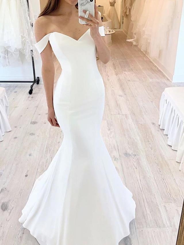 Mermaid / Trumpet Wedding Dresses Off Shoulder Floor Length Satin Short Sleeve Sexy with 2020