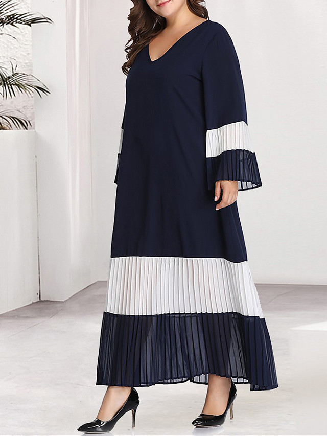 Women's Plus Size Maxi Blue & White Black & Red A Line Dress - Long Sleeve Color Block Solid Color Pleated Patchwork Basic V Neck Casual Daily Flare Cuff Sleeve Belt Not Included Loose Black Blue XL