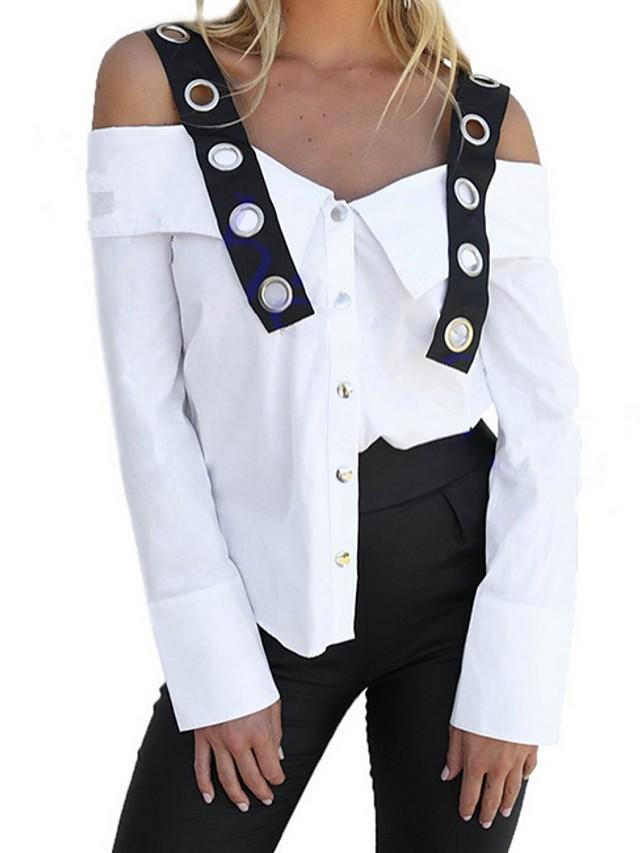 Women's Blouse Color Block Tops Strap White / Long Sleeve