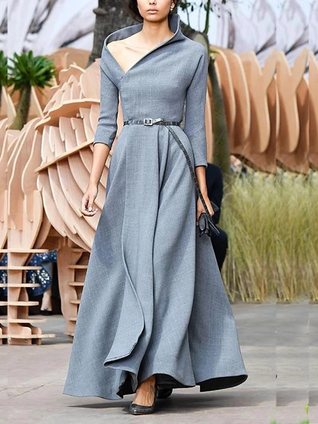 Sheath / Column Elegant Minimalist Wedding Guest Formal Evening Dress V Neck 3/4 Length Sleeve Floor Length Spandex with Sleek 2020