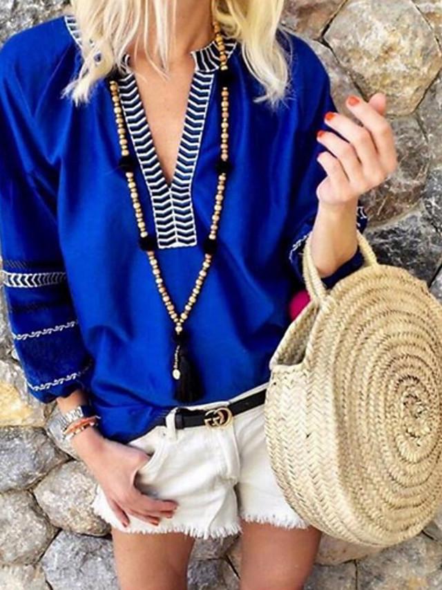 Women's Blouse Color Block Patchwork Loose Tops V Neck Orange Royal Blue