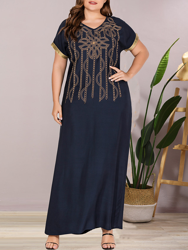 Women's Plus Size Maxi Shift Dress - Short Sleeves Color Block Solid Color Embroidered Patchwork Summer V Neck Casual Elegant Daily Going out Flare Cuff Sleeve Loose 2020 Navy Blue L XL XXL XXXL