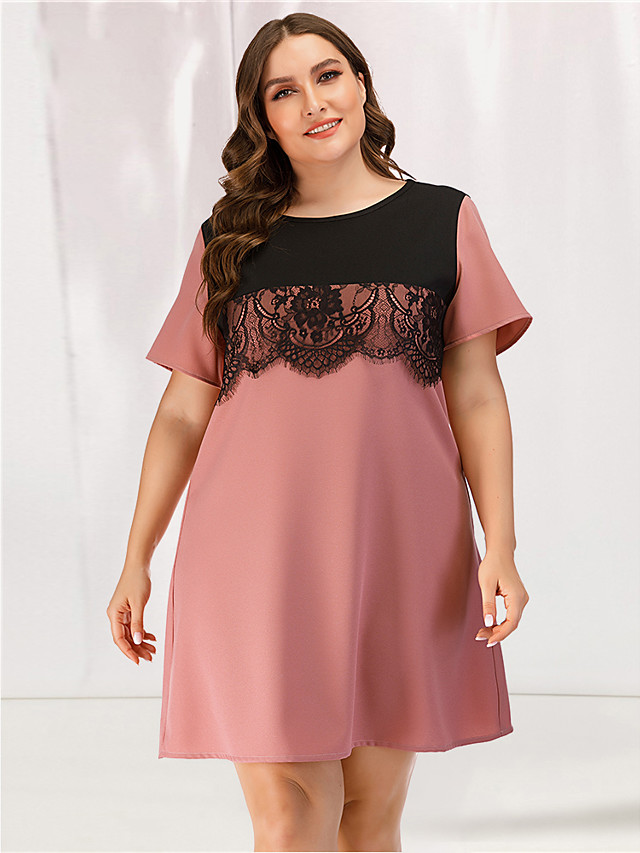 Women's Lace Dress - Short Sleeves Color Block Solid Color Lace Patchwork Summer Casual Elegant Party Going out 2020 Blushing Pink L XL XXL XXXL XXXXL