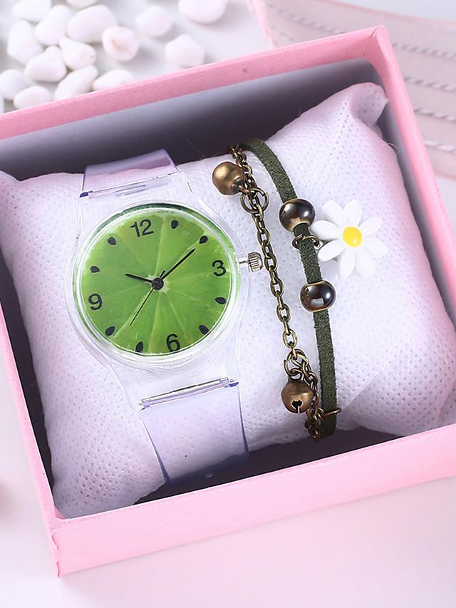 Women's Quartz Watches Quartz New Arrival Chronograph Rubber Grey Analog - Green Rainbow One Year Battery Life