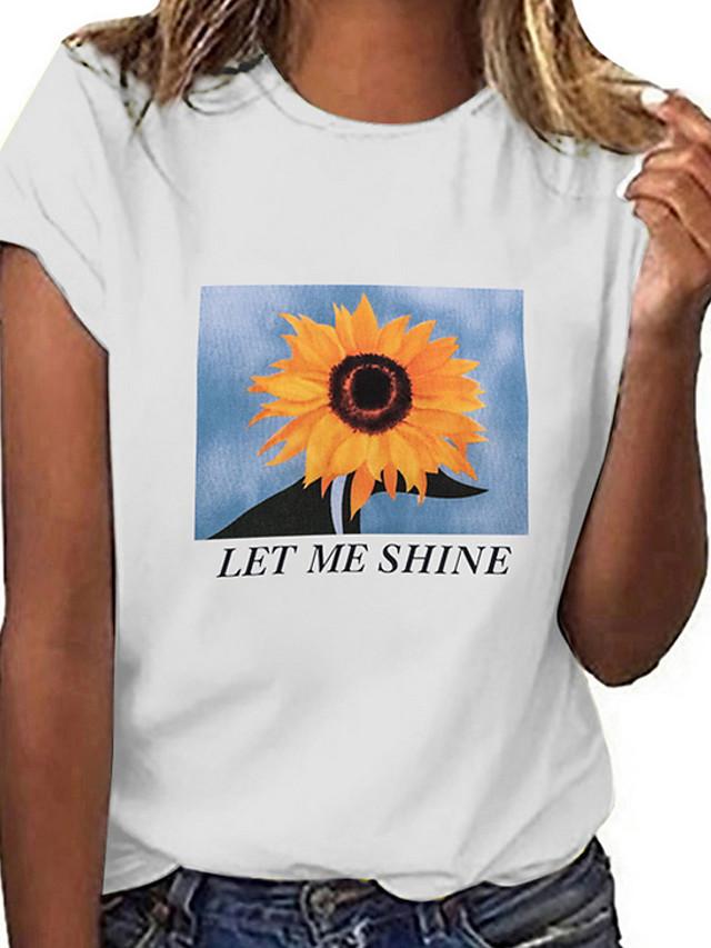 Women's T-shirt Geometric Letter Tops White Black Gray