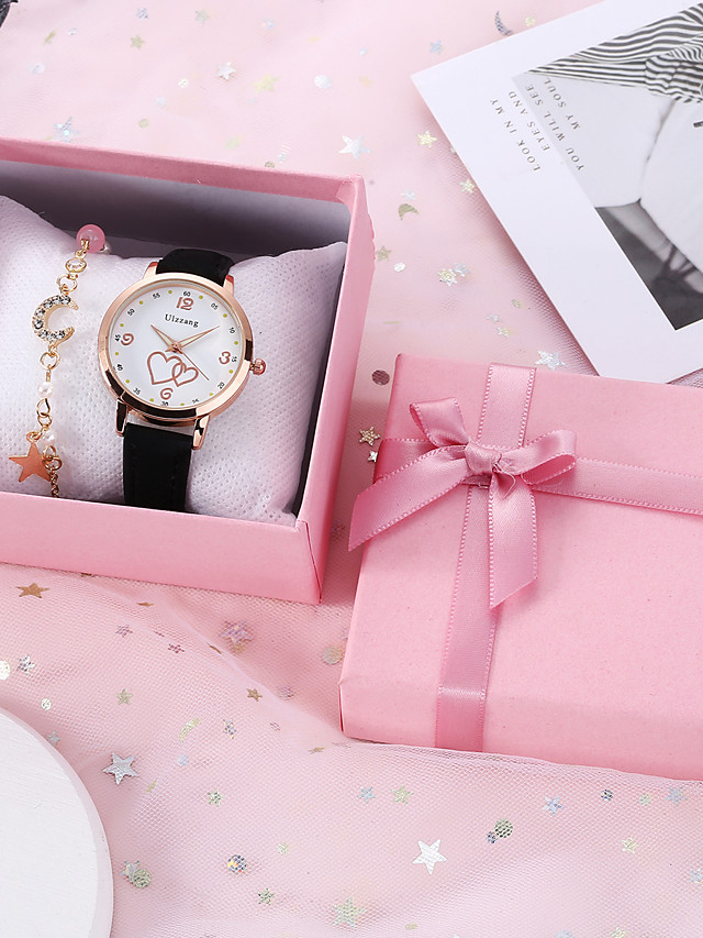 Women's Quartz Watches Quartz New Arrival Chronograph PU Leather Black / Pink Analog - Black Blushing Pink