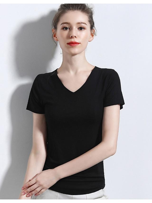 Women's Blouse Shirt Solid Colored V Neck Tops Basic Top White Black Wine