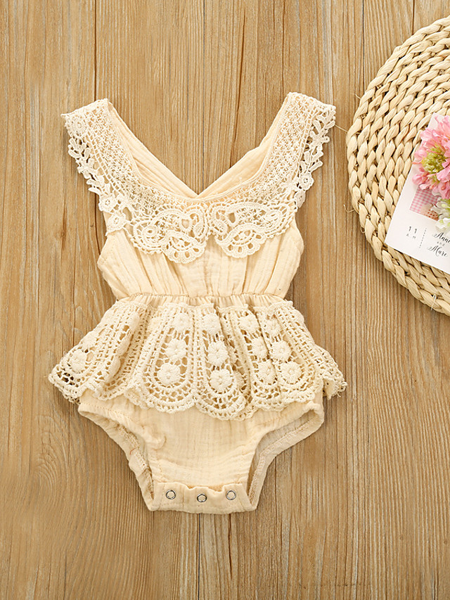 Baby Girls' Basic Floral Solid Colored Lace Patchwork Sleeveless Bodysuit Wine
