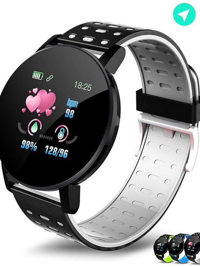 119PLUS Unisex Smartwatch Android iOS Bluetooth Waterproof Heart Rate Monitor Blood Pressure Measurement Health Care Blood Oxygen Monitor Pedometer Sleep Tracker Sedentary Reminder Community Share
