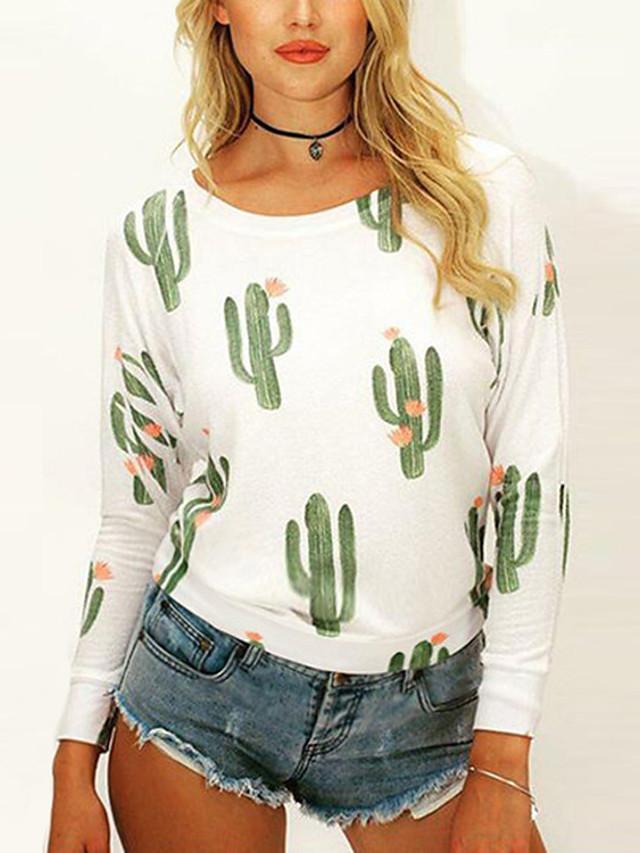 Women's T-shirt Floral Print Loose Tops Cotton Basic White