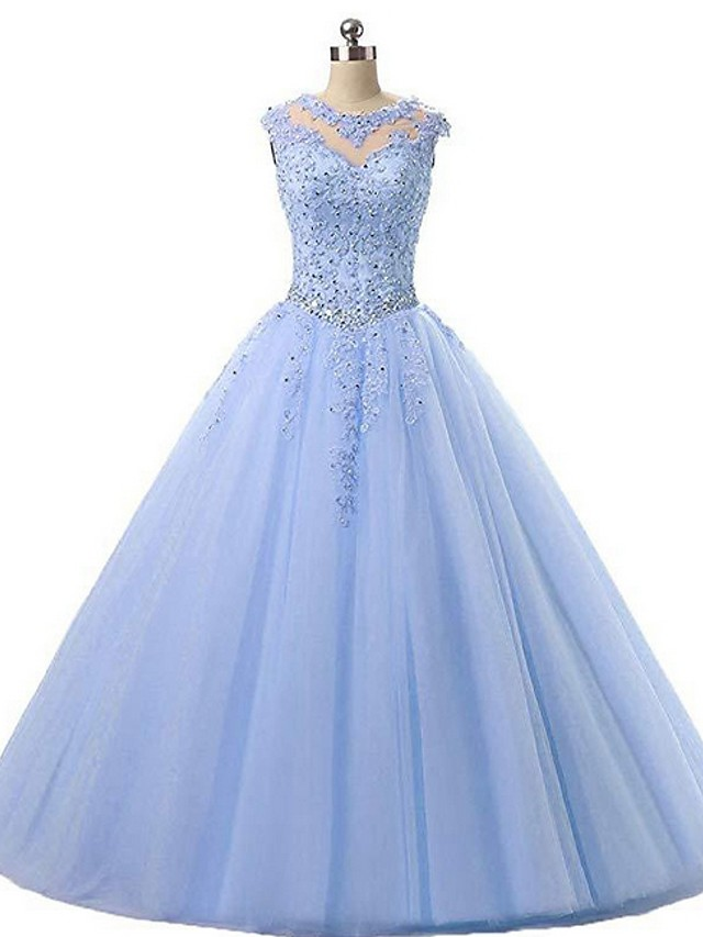 Ball Gown Elegant Sparkle Engagement Prom Dress Illusion Neck Sleeveless Floor Length Organza with Pleats Crystals Appliques 2020