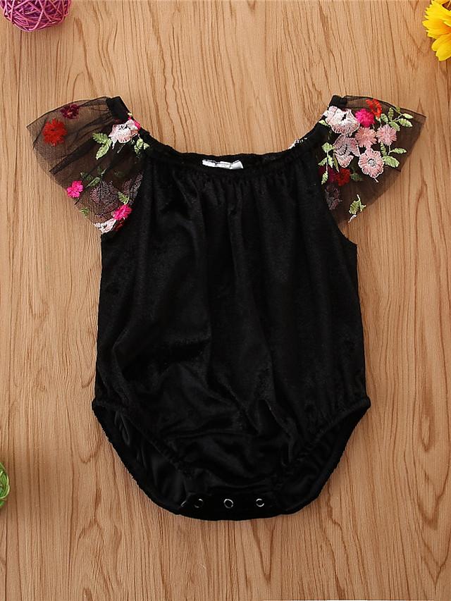 Baby Girls' Basic Print Sleeveless Bodysuit Black