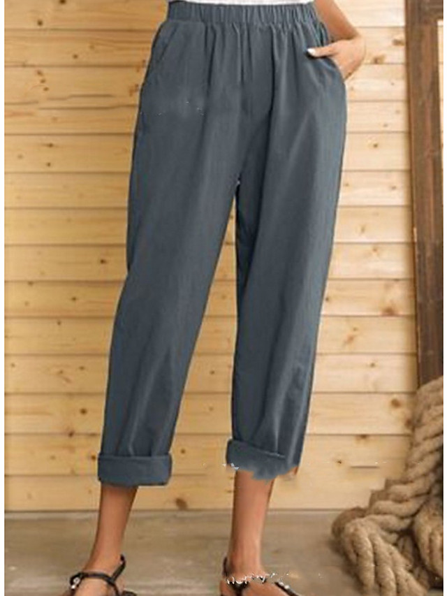 Women's Basic Loose Cotton Chinos Pants - Solid Colored High Waist Black Blue Gray M / L / XL
