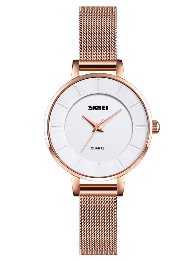 SKMEI Ladies Quartz Watches Quartz Formal Style Modern Style Elegant Cute Stainless Steel Rose Gold Analog - Rose Gold One Year Battery Life