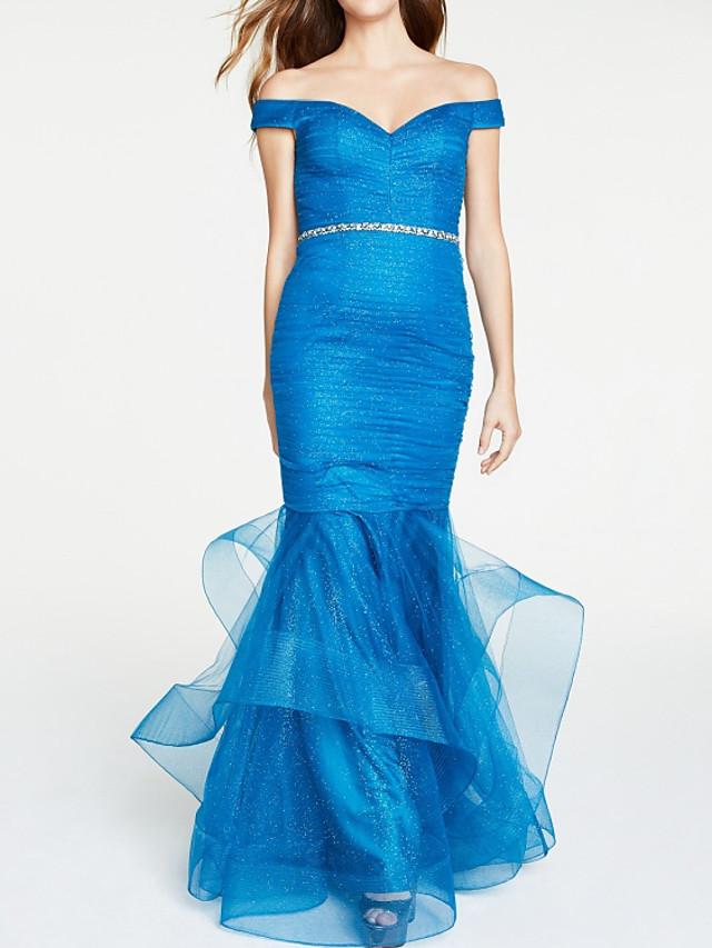Mermaid / Trumpet Elegant Blue Party Wear Formal Evening Dress Off Shoulder Short Sleeve Floor Length Satin Tulle with Sash / Ribbon Tier 2020