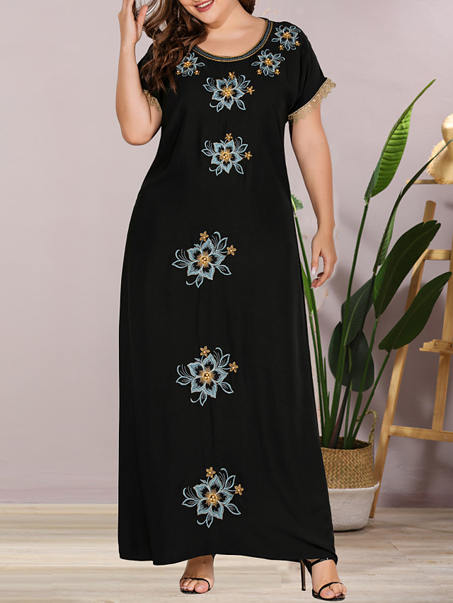 Women's Plus Size Maxi Shift Dress - Short Sleeves Solid Color Lace Embroidered Summer Casual Elegant Daily Going out Loose 2020 Black L XL XXL XXXL