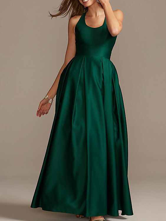 Ball Gown Elegant Beautiful Back Party Wear Formal Evening Dress Scoop Neck Sleeveless Floor Length Satin with Pleats 2020