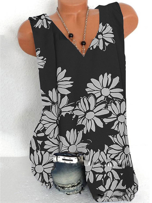 Women's Tank Top Graphic Print V Neck Tops Loose Basic Top White Black Orange