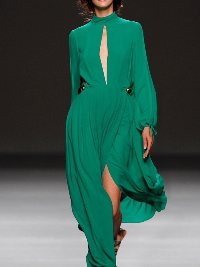 A-Line Elegant Green Party Wear Prom Dress High Neck Long Sleeve Floor Length Chiffon with Pleats Split 2020