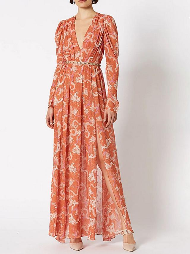 Sheath / Column Vintage Boho Holiday Prom Dress V Neck Long Sleeve Floor Length Spandex with Sash / Ribbon Split Pattern / Print 2020