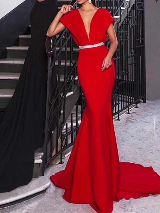 Mermaid / Trumpet Elegant Beautiful Back Engagement Formal Evening Dress V Neck Short Sleeve Court Train Satin with Sash / Ribbon 2020