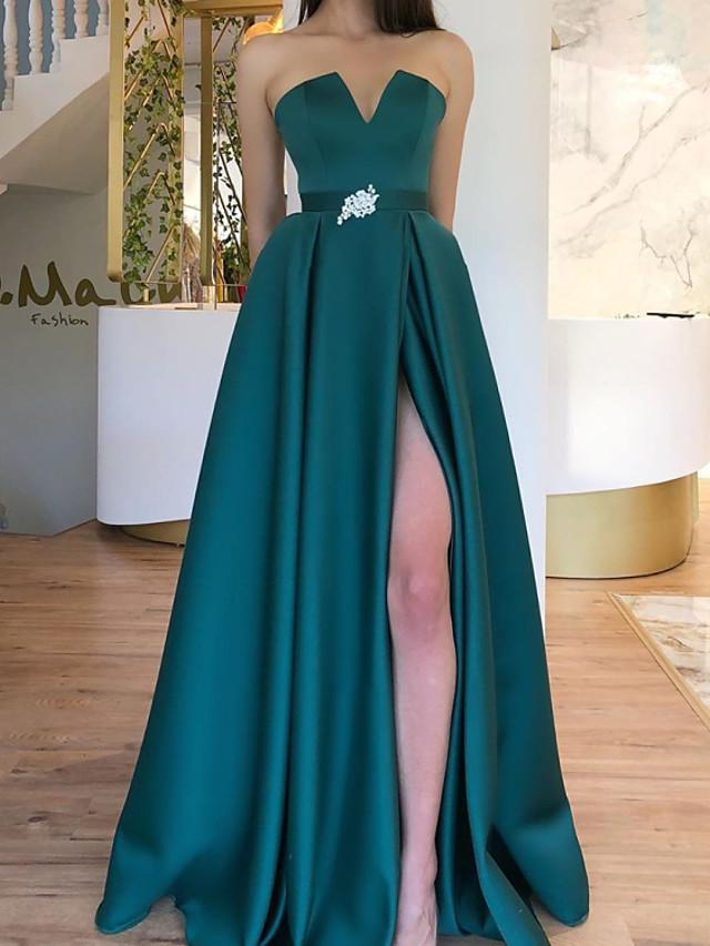 A-Line Elegant Green Engagement Formal Evening Dress Strapless Sleeveless Floor Length Satin with Sash / Ribbon Pleats Split 2020