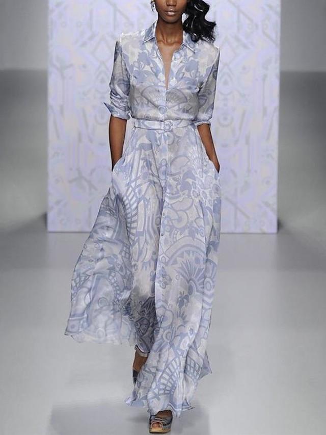 Sheath / Column Floral Maxi Wedding Guest Formal Evening Dress V Neck Long Sleeve Floor Length Spandex with Pattern / Print 2020