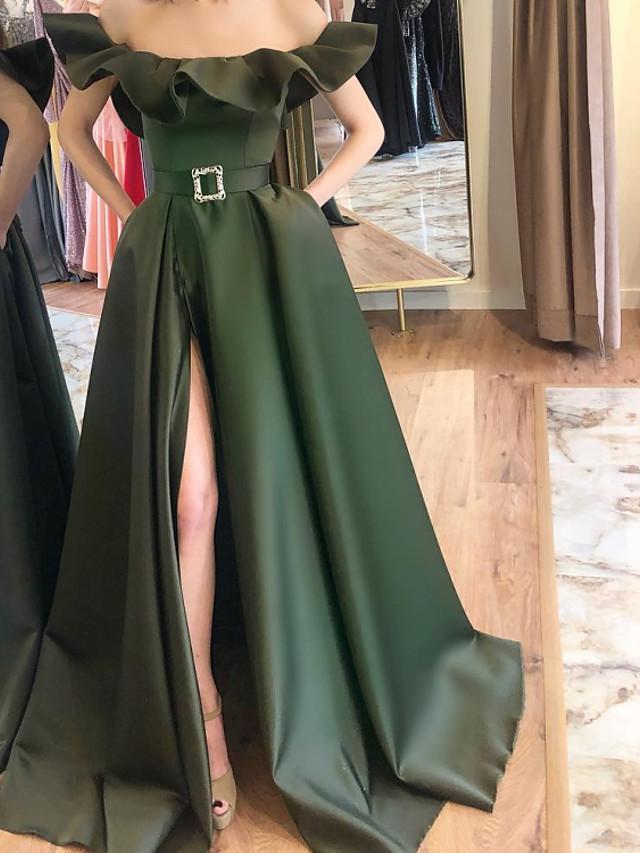 A-Line Elegant Green Party Wear Formal Evening Dress Off Shoulder Sleeveless Sweep / Brush Train Satin with Sash / Ribbon Ruffles Split 2020
