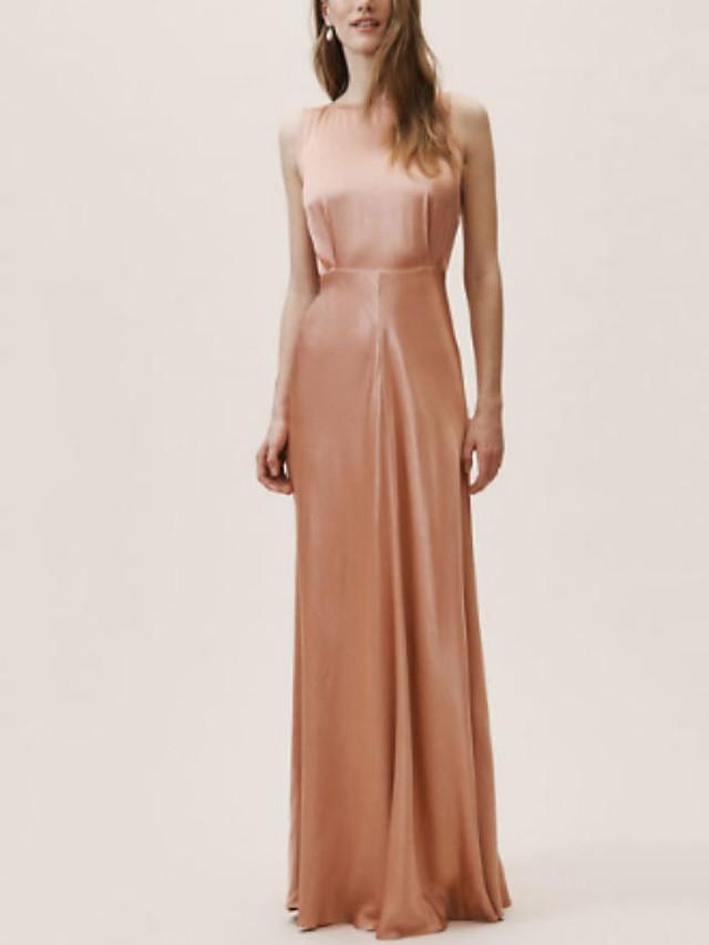 Sheath / Column Elegant Minimalist Engagement Prom Dress Jewel Neck Sleeveless Floor Length Satin with Sleek 2020
