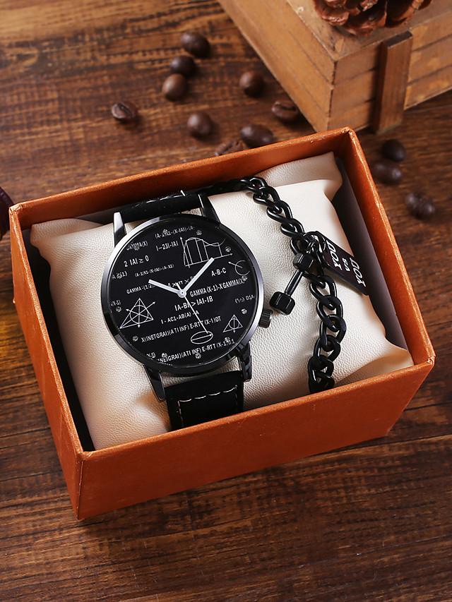 Men's Sport Watch Quartz Stylish Fashion Chronograph PU Leather Black Analog - White Black / Large Dial