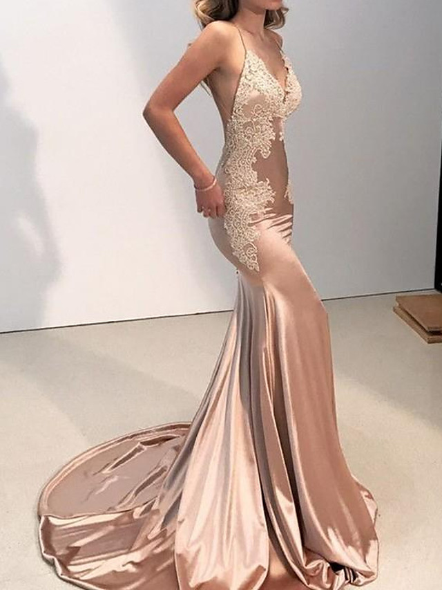 Mermaid / Trumpet Beautiful Back Sexy Engagement Formal Evening Dress V Neck Sleeveless Chapel Train Stretch Satin with Lace Insert 2020