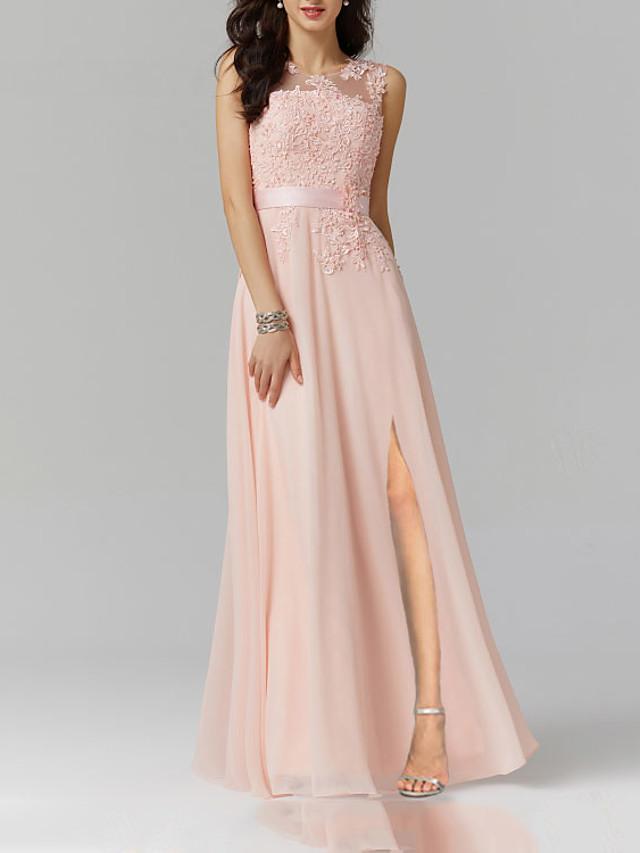 A-Line Elegant Engagement Formal Evening Dress Jewel Neck Sleeveless Floor Length Tulle with Split Appliques 2020